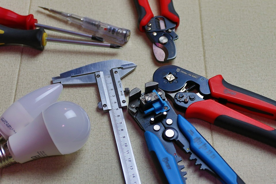 A commercial electrician's tool kit.