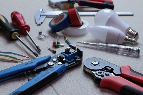 An electrician's tool kit.
